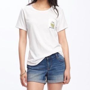 NWT Old Navy White Cotton SS Tee Graphics Pocket
